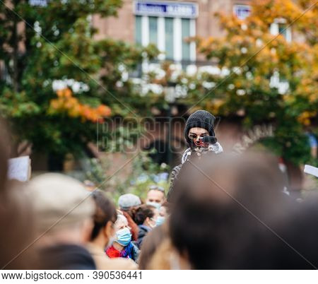 Strasbourg, France - Oct19, 2020: Man Addressing To Crowd In Place Kleber To Pay Tribute To History