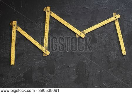 Yellow Measuring Tape For Tool Roulette Or Ruler. Tape Measure Template In Centimeters. Tapes Meter