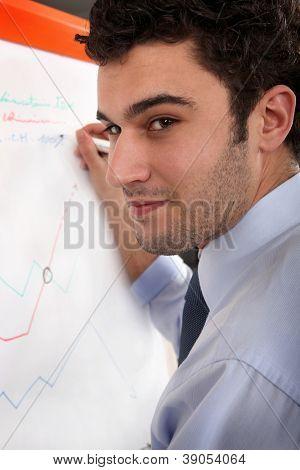 Man writing on a flip chart