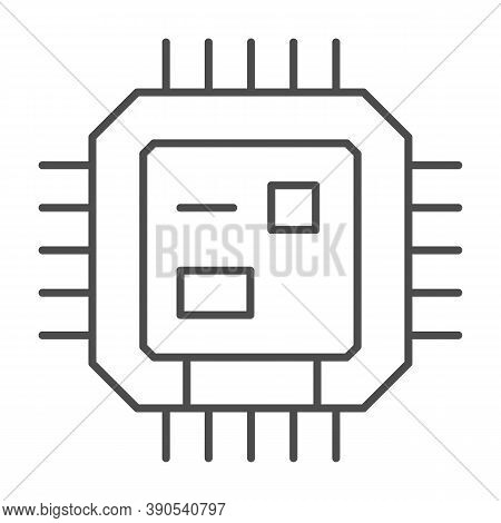 Central Processing Unit Thin Line Icon, Robotization Concept, Cpu Sign On White Background, Computer