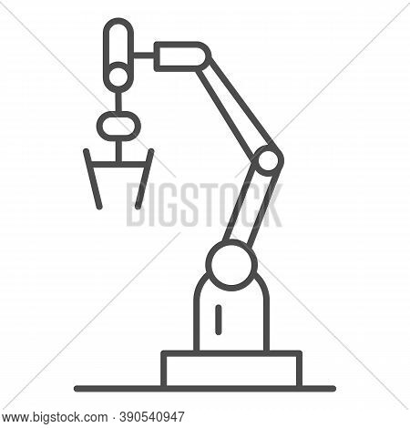 Robot Machine Thin Line Icon, Robotization Concept, Robotic Hand Manipulator Sign On White Backgroun