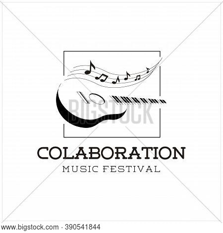 Silhouette Guitar Strings And Chord With Piano Music Instrument Logo Design