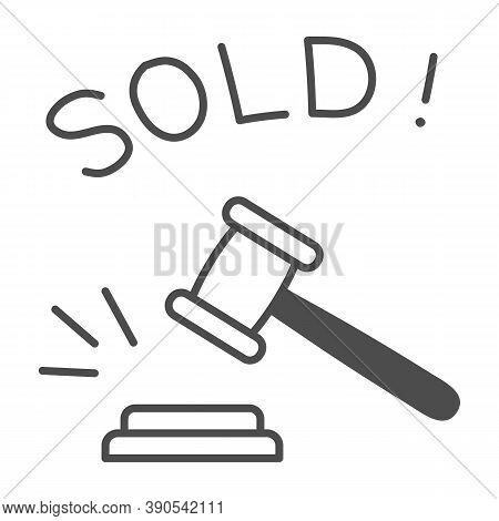 Auction Hammer With Sold Text Thin Line Icon, Finance Concept, Hitting Wooden Gavel In Auction Sign
