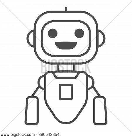 Cheerful Flying Robot Thin Line Icon, Robotization Concept, Robot Toy Sign On White Background, Flyi