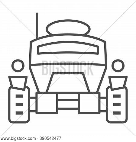 Lunar Robot Thin Line Icon, Robotization Concept, Lunar Rover Sign On White Background, Space Rover