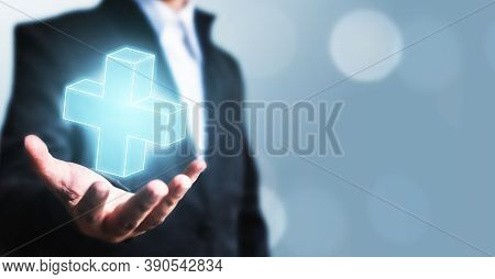 Businessman Offer Positive Thing (such As Profit, Benefits, Development, Csr) Represented By Plus Si