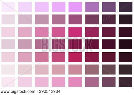 Vector Palette Of Red Shades. Scheme Of Pink Rgb Colors. Stock Image.