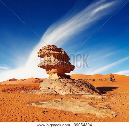 Bizarre sandstone cliff in Sahara Desert, Algeria