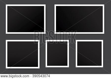 Vector Illustration Of Blank Vintage Photos. Black Squares In White Frames. Retro Shots For A Photo