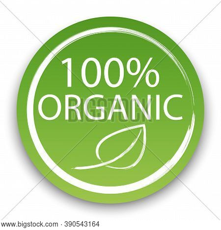 Vector Icon 100 Percent Organic Product. Natural Vegan Product Label. Food Certification Symbol. Sto