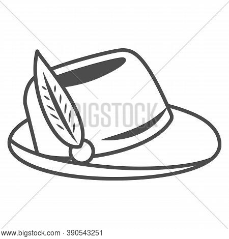 Hat With Feather Thin Line Icon, Oktoberfest Concept, Oktoberfest Hat Sign On White Background, Germ