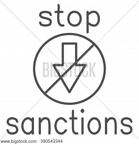 Stop Sanctions Sign Thin Line Icon, Economic Sanctions Concept, Warning Sign With Crossed Arrow Down