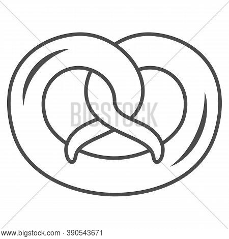 Pretzel Thin Line Icon, Oktoberfest Concept, German Traditional Bakery Food Sign On White Background