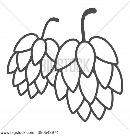 Hops Thin Line Icon, Oktoberfest Concept, Hop Beer Sign On White Background, Hop Cones Icon In Outli