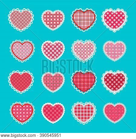 Set Of Hearts With A Checkered Texture And Openwork Edge For Valentine`s Day. Vector Decorative Elem