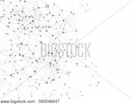 Social Media Communication Digital Concept. Network Nodes Greyscale Plexus Background. Fractal Hub N