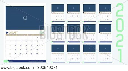 Vector Of 2021 New Year Calendar In Modern Clean Table Simple Style With Blue Gold Green Color,holid