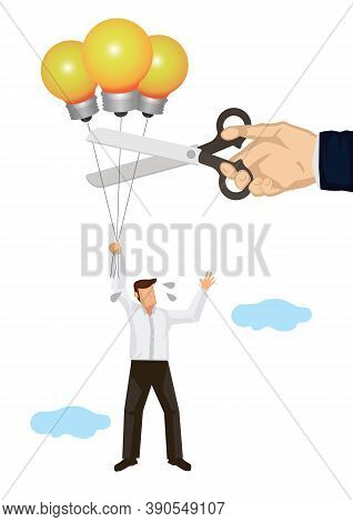 Man Flying In The Sky With Lightbulb Balloons. Businessman Cuting His Balloons. Concept Of Competiti