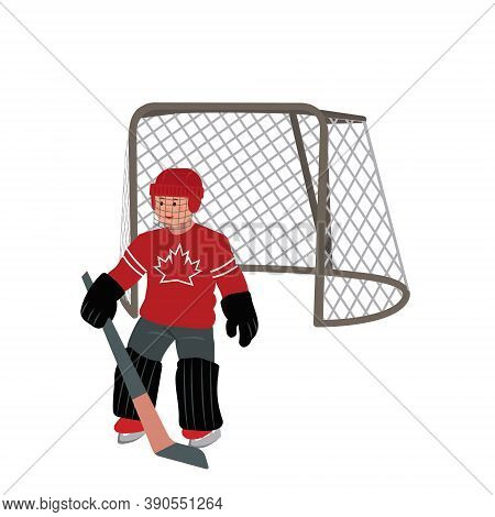 Vector Illustration Of A Hockey Goalkeeper. Color Vector Illustration. Goaltender Sportsmen.