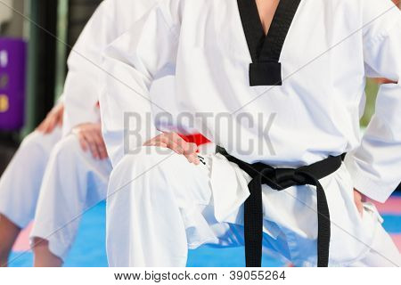 People in a gym in martial arts training exercising Taekwondo, the trainer has a black belt poster