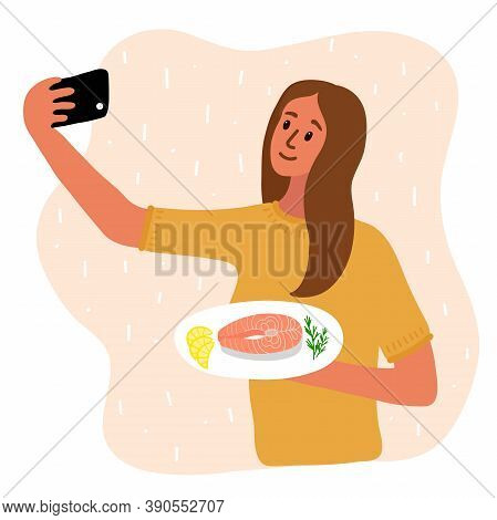 Woman Food Blogger Making Photo Selfie With Salmon Steak And Lemon And Rosemary For Blog. Cute Girl