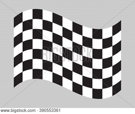 Chequered Flag Icon. Checkered Black And White Sign. Waving Check Pattern Illustration. Motor Sport