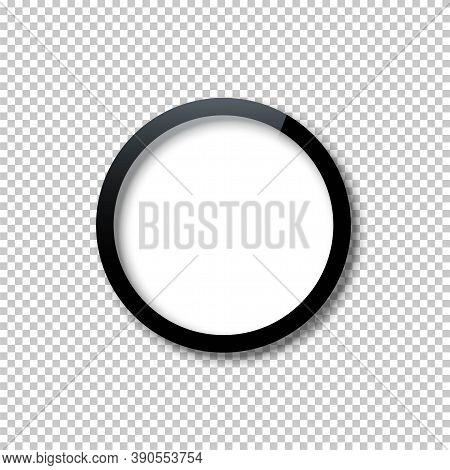 Black Circle Frame Template With Empty White Copy Space Inside Isolated On Transparent Background. D