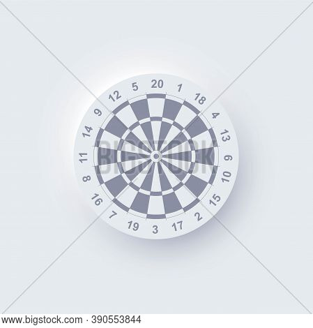 Realistic Neomorphic Darts Board Isolated On White Background. Dartboard With Twenty Sectors, Target