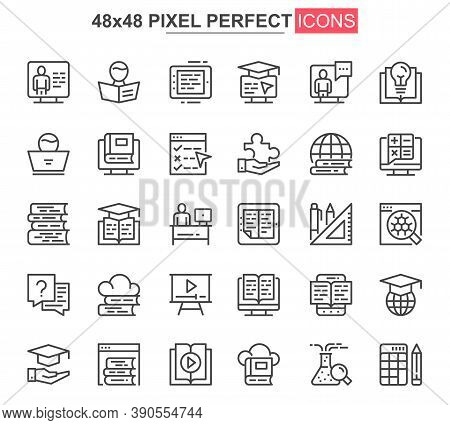 Online Education Thin Line Icon Set. Distance Learning Outline Pictograms For Website And Mobile App