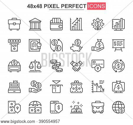 Business Finance Thin Line Icon Set. Financial Accounting And Audit Outline Pictograms For Web And M