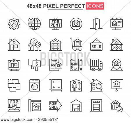 Real Estate Thin Line Icon Set. Real Estate Agency Outline Pictograms For Website And Mobile App Gui