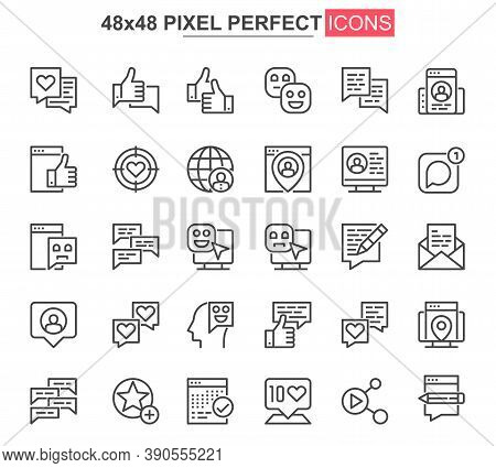 Social Network Thin Line Icon Set. Online People Communication Outline Pictograms For Web And Mobile