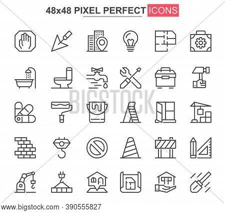 Construction Thin Line Icons Set. Construction Site Workflow And Management Unique Design Icons. Mac