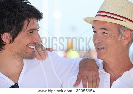 Father and son on holiday together