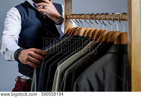 Man Suit, Tailor In His Workshop. Fashion Man In Classical Costume Suit. Tailor, Tailoring. Stylish