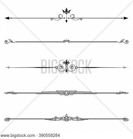 Set Of Decorative Elements, Border And Page Rules Frame. Vector Illustration.
