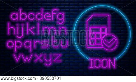Glowing Neon Sim Card Icon Isolated On Brick Wall Background. Mobile Cellular Phone Sim Card Chip. M