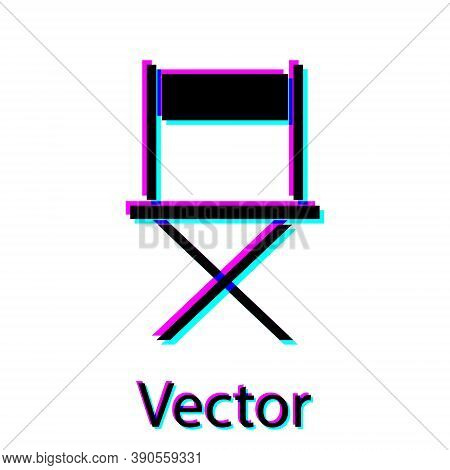 Black Director Movie Chair Icon Isolated On White Background. Film Industry. Vector