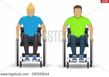 Disabled White Woman And Man In Wheelchair. Set Of Disability People Sitting In Wheelchair And Hold