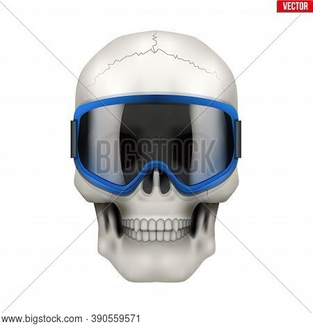Skull With Ski Goggles. Extreme Label With Skull Head. Sticker And Patches Winter Extreme. Vector Il