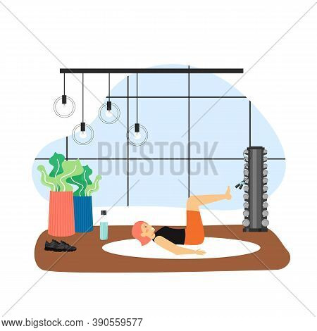 Sport And Fitness Activities. Young Woman Doing Pilates Exercises, Flat Vector Illustration. Fitness