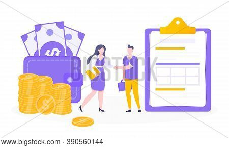 Loan Money Installment Or Credit Approval Business Concept Vector Illustration. Salary Payment, Onli