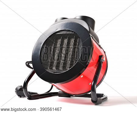 Industrial In Red Body Heat Gun For Heating Large Rooms, Electric Heater On White Background.