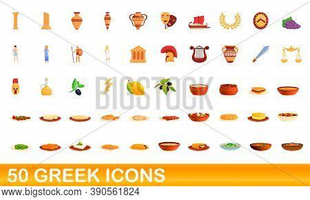 50 Greek Icons Set. Cartoon Illustration Of 50 Greek Icons Vector Set Isolated On White Background