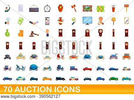 70 Auction Icons Set. Cartoon Illustration Of 70 Auction Icons Vector Set Isolated On White Backgrou