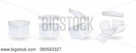 Gift Carton Mockup. White Box In Closed, Open, Inverted And Unpacked Form.