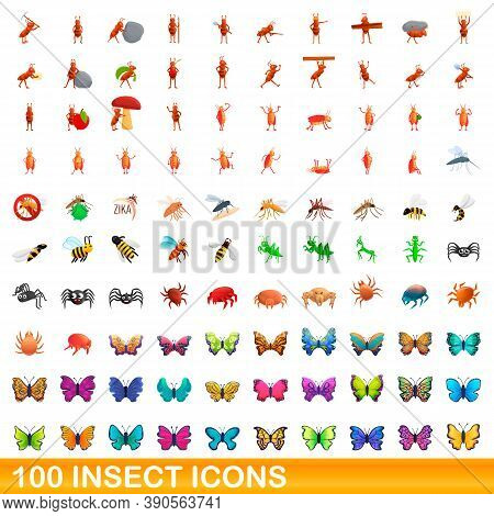 100 Insect Icons Set. Cartoon Illustration Of 100 Insect Icons Vector Set Isolated On White Backgrou