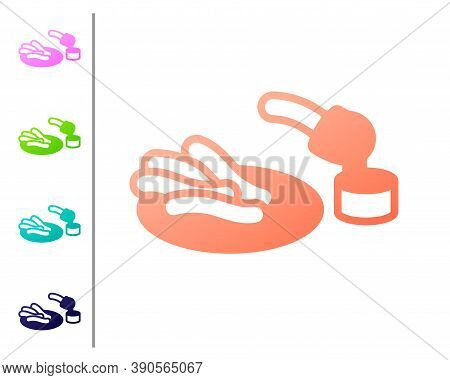 Coral Churros And Chocolate Icon Isolated On White Background. Traditional National Spain Dessert, E