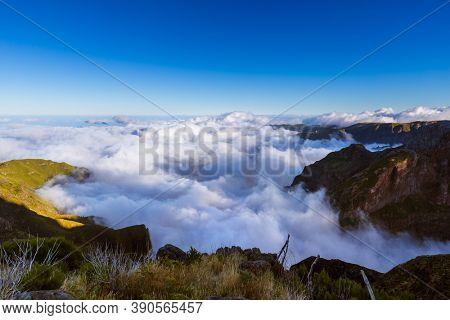 Hiking Pico Ruivo and Pico do Arierio - Madeira Portugal - travel background