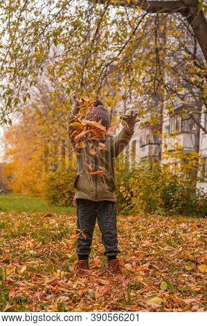 Little Boy Tossing Leaves In Autumn Park. Orange, Green Colors.